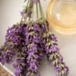 Stock Photo: Lavender flowers and aromatherapy oil