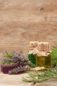 Mediterranean aromatherapy spa products with herbs — Stock Photo