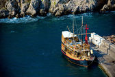 Vrbnik, Croatia. Retro sailing ship. — Stock Photo