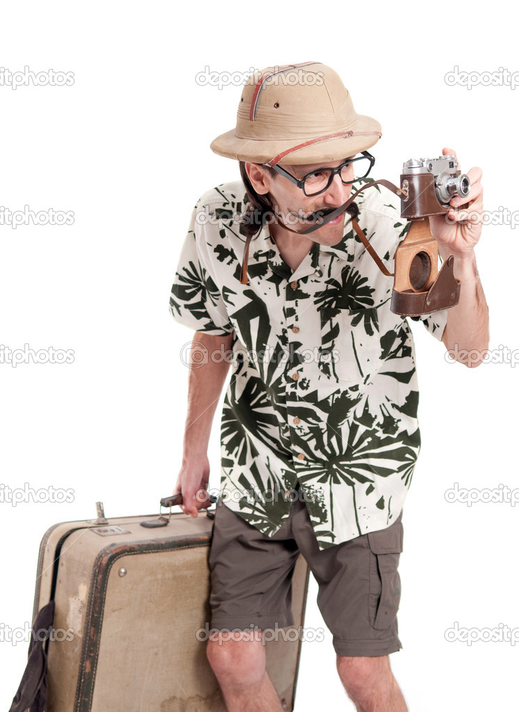 Funny retro photographer or safari tourist — Stock Photo #14207866