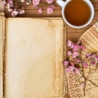 Stock Photo: Old blank book with green tea