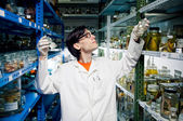 Neerd scientist working at lab — Stock Photo