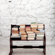 Books on old wooden bench — Stock Photo