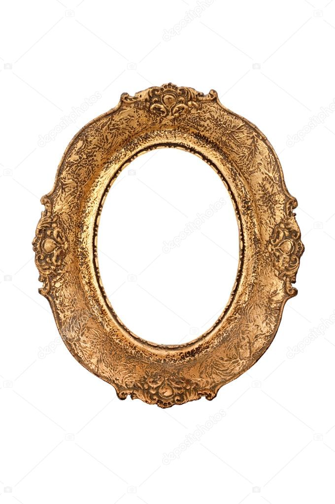 Old oval picture frame isolated on white — Stock Photo #15485865