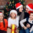 Happy family celebrating Christmas — Stock fotografie
