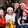 Happy family celebrating Christmas - 图库照片