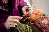 Crocheting hands — Stock Photo