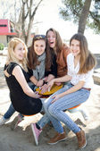 Happy teenage girls — Stock Photo