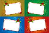 ヤドリギと空白のフレームを 4 つのクリスマス カード — ストックベクタ