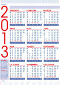 2013 calendar in english with rulers — Stock Vector