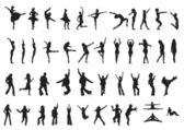 Siluety tanečníků — Stock vektor