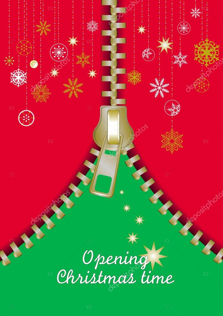 Greetings card with an opening gold Zip make a Christmas abstract tree — Stock Vector #14865787