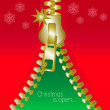 Christmas open zip square greetings card - Stock Vector