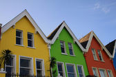 Bright coloured wooden houses in northern Ireland — Stock Photo
