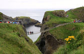 Carrick-a-rede rope bridge national park, antrim coast, northern — Stock Photo