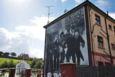 Bloody Sunday wall-paintings road in Londonderry — Stock Photo