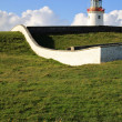 White Lighthouse on a green hill, Ireland — Stock fotografie