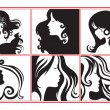 Stock Vector: Women profiles