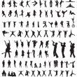Stock Vector: Silhouettes of dance & music