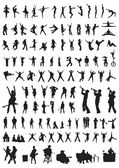 Silhouettes of dance & music — Stock Vector