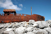 Sank boat in Inisheer, Aran Islands — Stock Photo