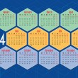 2014 english calendar with hexagons — Imagens vectoriais em stock