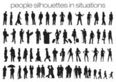 People silhouettes in situations — Stock Vector