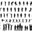silhouette people — Vettoriali Stock
