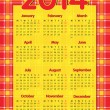 Tartan scottish style calendar 2014 — Stock Vector