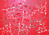 Red abstract background with branches and leaves — Stock Vector