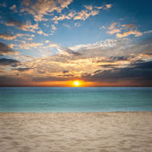 Sand and beach with sunset — Foto Stock