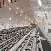 Inside air cargo freighter — Stock Photo