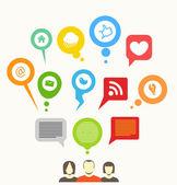 Bolle di discorso astratto di rete sociale dei media — Vettoriale Stock