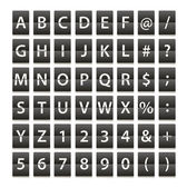 Alphabet and digits isolated on white — Stock Vector