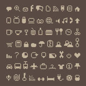 Pixel icons on brown — Stock Vector