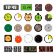Different clocks collection isolated on white — 图库矢量图片