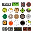 Stock Vector: Different clocks collection isolated on white