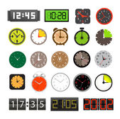 Collezione di orologi diversi isolato su bianco — Vettoriale Stock