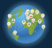 Globe sosyal bağlantı soyut şeması — Stok Vektör