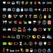 Royalty-Free Stock Vector Image: Color pixel style icons collection on black
