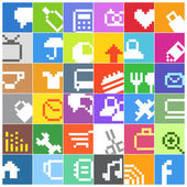 Modern social media color buttons interface icons — Stock Vector