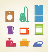 Abstract style home and kitchen equipment icons — Stock Vector
