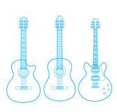 Vector silhouettes of classic guitars isolated on white, — Stock Vector