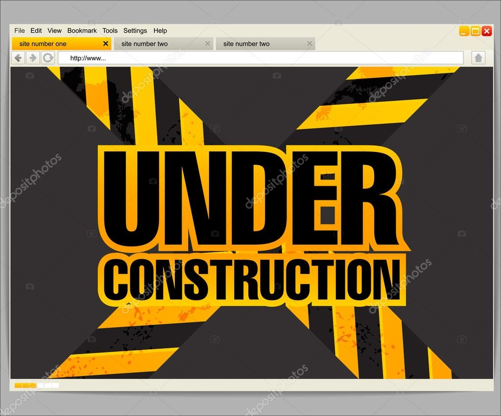 simple under construction html template - under construction site template in a browser window