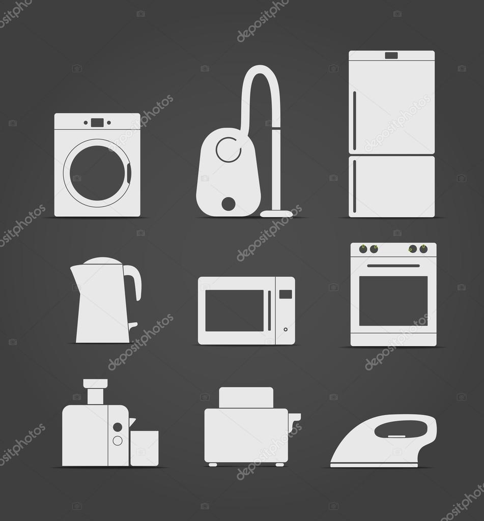 Abstract style home and kitchen equipment icons — Stock