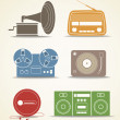 Stock Vector: Digital and analogue music players icons