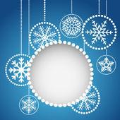 Bolas de natal abstrata com ornamento dos flocos de neve — Vetorial Stock