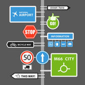 Different road signs on column. Vector collection — 图库矢量图片