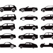 Modern and vintage cars silhouettes collection — Vettoriali Stock
