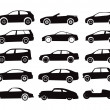 Modern and vintage cars silhouettes collection — Imagen vectorial